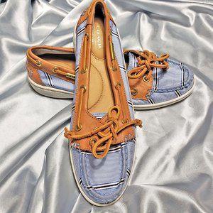 COACH blue brown boat shoes - RICHELLE 8.5